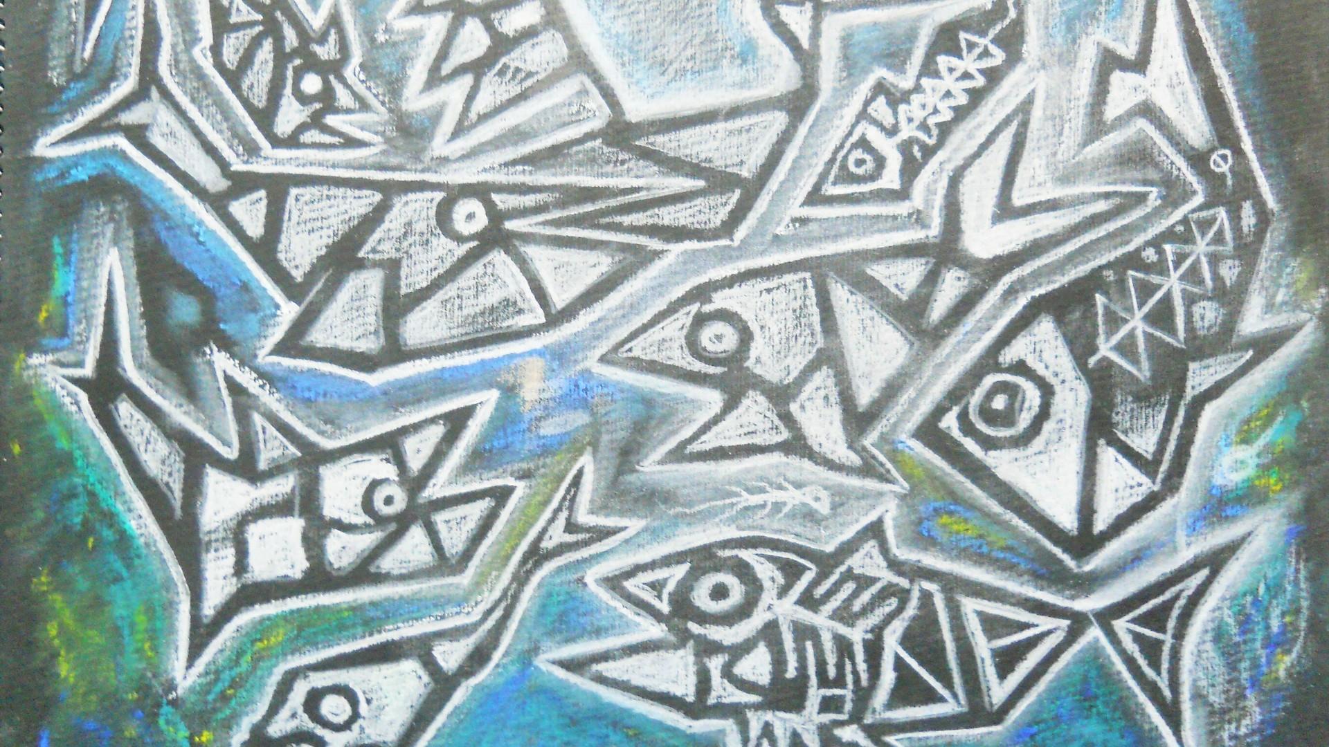 Charcoal cubist fish