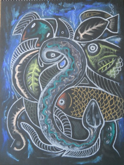 Charcoal Drawing fish